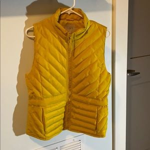 Loft Yellow Quilted Vest Size Small